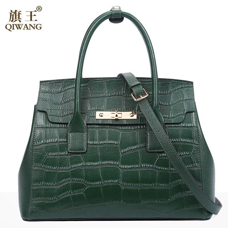 Qiwang Verde Borsa di Marca Delle Donne di Disegno di Coccodrillo Sacchetto di Mano Borse di cuoio genuino di Modo di Marca di Lusso del Sacchetto di Tote per la Donna 2018