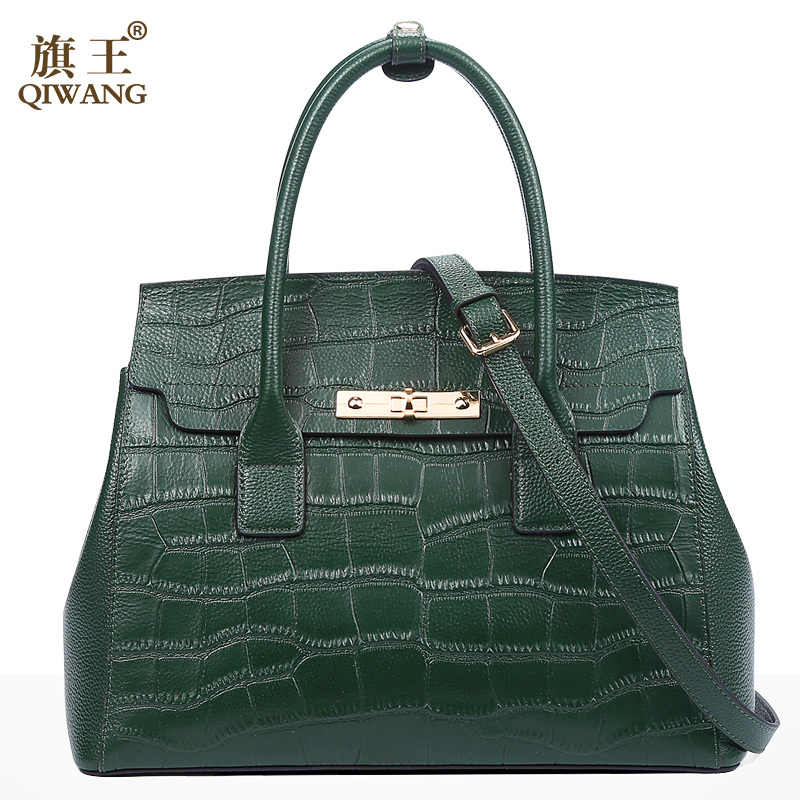 Qiwang getroffen Schwarz Handtaschen für Frauen 2019 Krokodil Muster Damen Hand Taschen Aus Echtem Leder Schulter Taschen Mode Luxus Trage Tasche