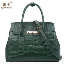 Qiwang siyah çanta kadınlar için 2019 timsah desen bayanlar el çantaları hakiki deri omuz çantaları moda lüks Tote çanta