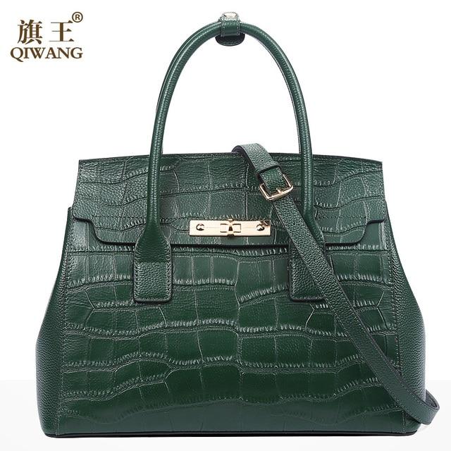 여성을위한 qiwang 블랙 핸드백 2019 악어 패턴 숙녀 핸드 가방 정품 가죽 어깨 가방 패션 럭셔리 토트 백