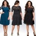 Большой Размер Женщин кружева Dress 2017 женщин Сексуальный Плюс Размер Cut out Dress Без Бретелек Большой Размер Одежды Женщины Bodycon Dress Для Жира