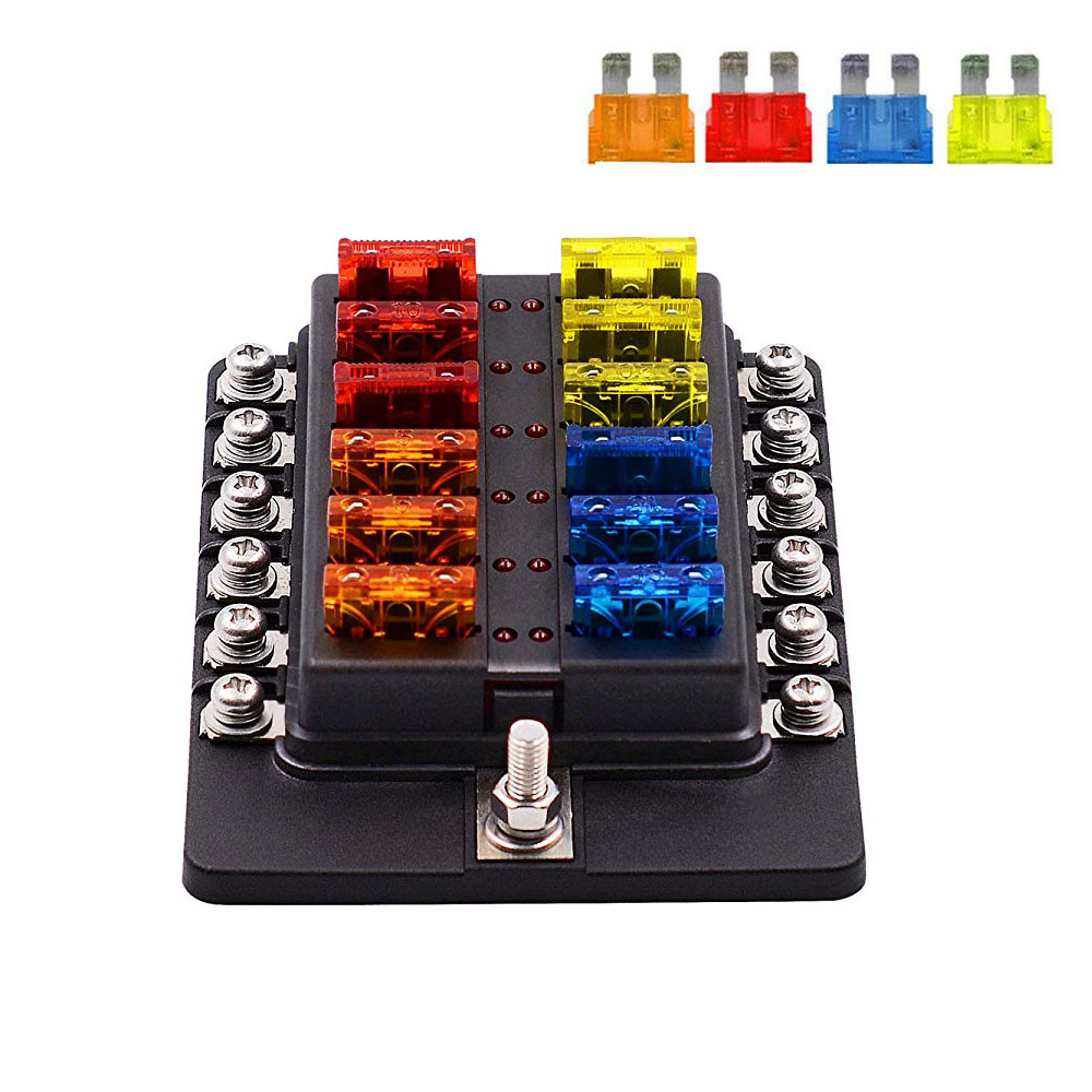 Auto 32V 12 Way Fuse Box Block Waterproof Fuse Holder Box Circuit Car Blade Car Fuse Accessory With LED Indicator Screw Terminal 32v 1 in 8 out auto car boat fuse holder standard ato atc blade fuse holder box block holder car boat electrical fuse equipment