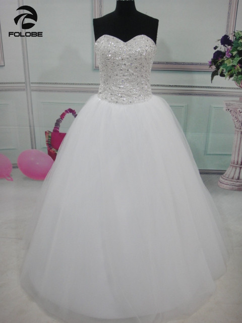 Vestidos De Noiva Princesa Stock White Ivory Strapless Beading Sequined  Crystal Ball Gown Tulle Wedding Dresses Robes De Mariage-in Wedding Dresses  from ... fa7915857759