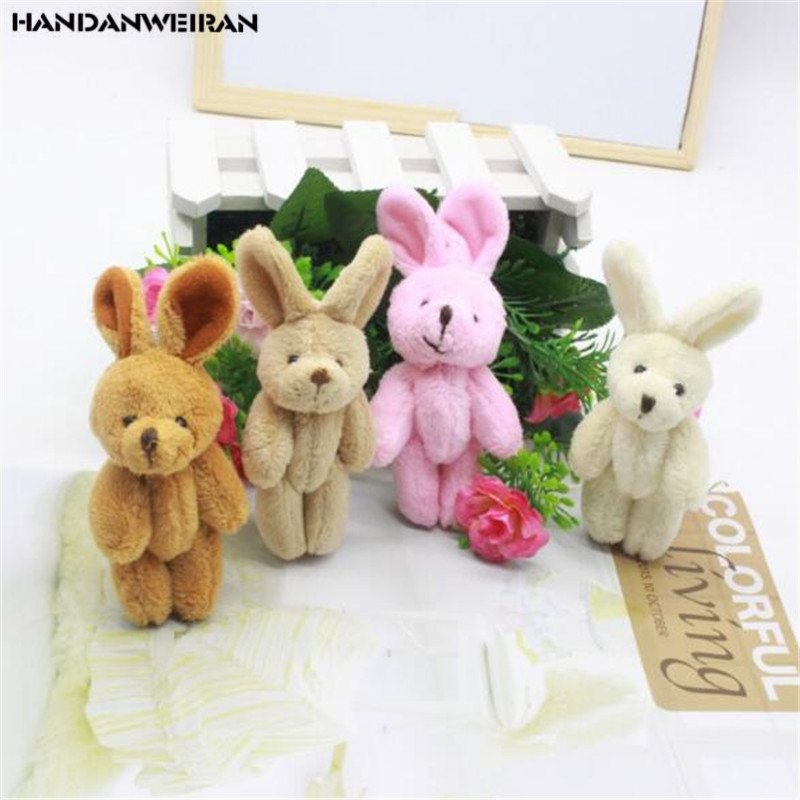 1PCS Mini 8CM Plush Joint Rabbit Toys 4 Color Choose Small Pendant DIY Soft Stuffed Bunny Toy Kids Activity Gifts New
