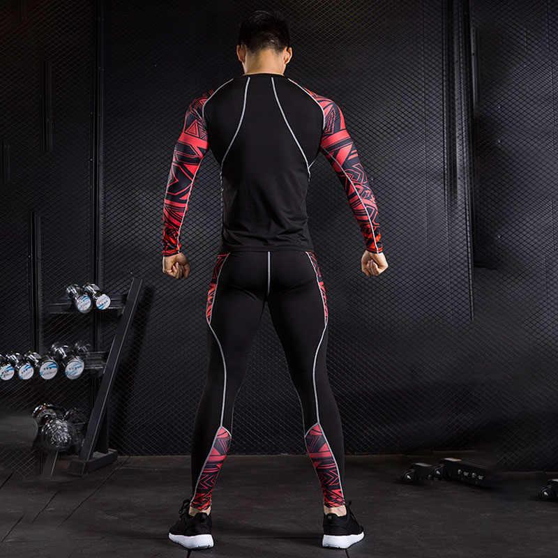 Marke herren Langarm T-Shirt MMA rashgard kit thermische unterwäsche kompression crossfit Shirts fitness leggings basis schicht 4XL