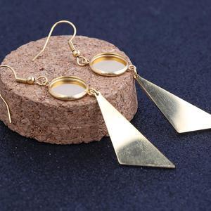 3 пара/лот позолоченные серьги с подвеской-треугольником базовые заготовки 12 мм Кабошон ободок настройки diy ювелирных изделий