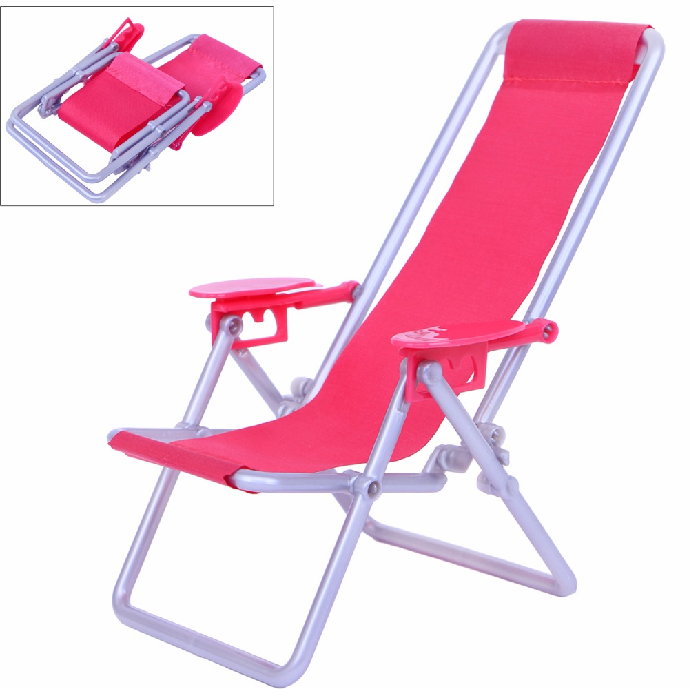 High Quality Pink Foldable Deckchair Lounge Beach Chair Lovely 1:12 Miniature Furniture For Barbie Doll Toy House Accessories beach house