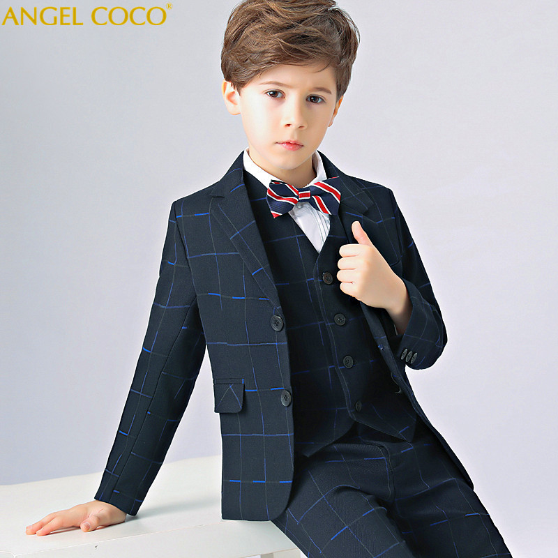 Blazers British Kids School Suit for Boys England Style Boys Formal Wedding Blazer Suit Boys Performance Suit Party Tux Menino