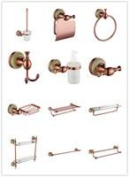 12 PCS Rose gold Brass Marble Bathroom hardware accessories set Towel rack Clothes hook Paper holder Towel Ring Soap dish holder