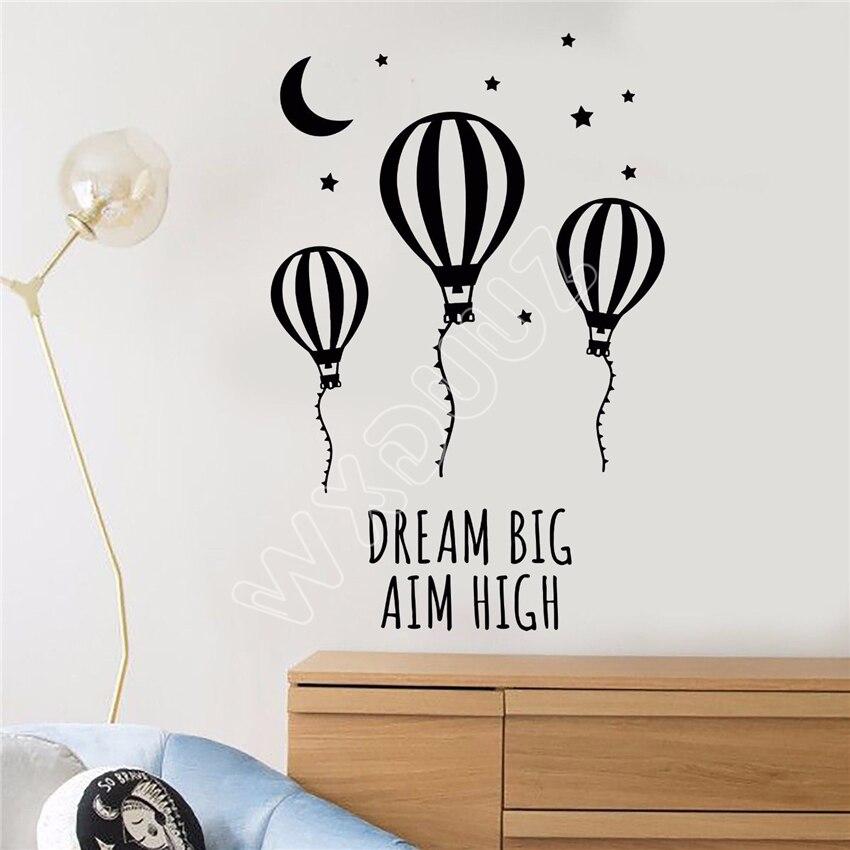 WXDUUZ Vinyl Wall Decal Motivational Words Air Balloon Moon Stars Stickers kitchen living room Vinyl Wall Sticker B585