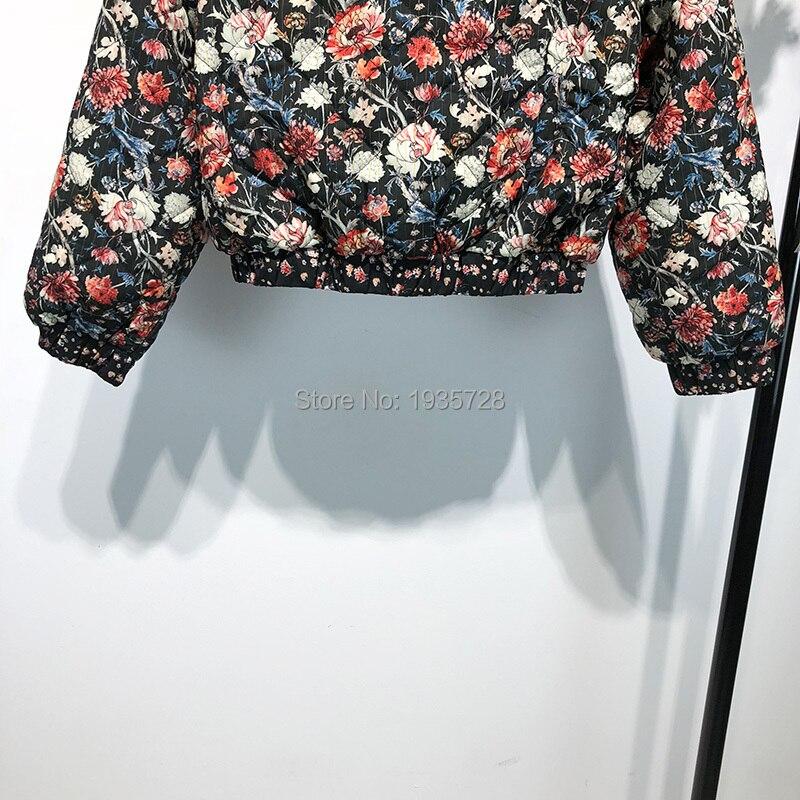 Stampato Giacca Cotone Pic cotone giacca autunno As Autunno Donne Di Print Delle Del Imbottito Basamento Bomber Floral Giacca 2018 Floreale Signore inverno Trapuntato Collare ZHIpSq