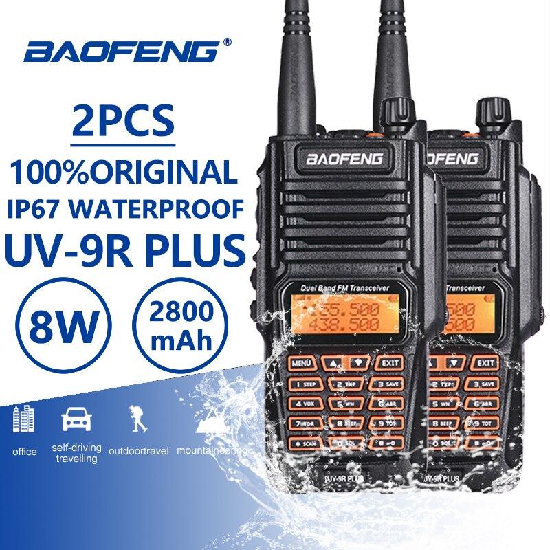 2 pièces Baofeng UV-9R Plus talkie-walkie portables Uhf Vhf IP67 Étanche Ham radio amateur UV9R Woki Toki équipements de police UV 9R