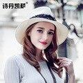 2016 Nueva Señora Sombrero de Sun Del Verano Sombrero de Paja de Las Mujeres Plegado de Ala Ancha Dom Casquillo Elegante Viajar Sombrero Nuevo Headwear B-1975