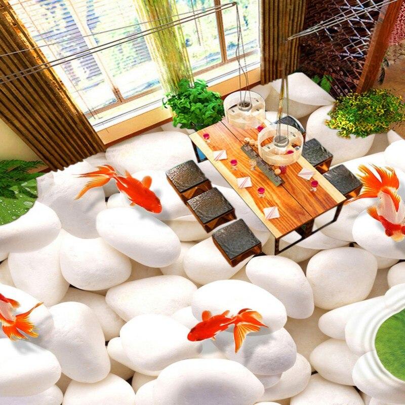 ФОТО Free Shipping Stereo 3D cobblestone goldfish stone floor high-quality moisture-proof wallpaper stereo anti-skidding mural