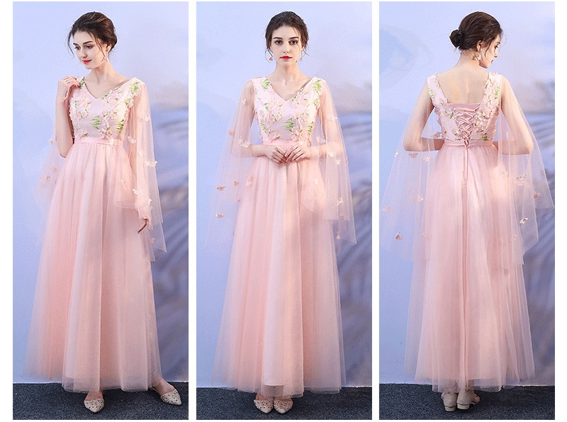 Pink Floral Appliques Floor Length Bridesmaid Dress 2