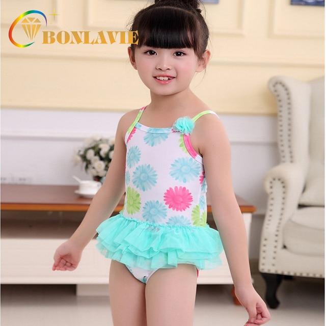 41c2572423 2018 Summer Colorful Daisy Flower Printed Girl s Swimwear One Piece Swimsuit  Cute Kids Children Beachwear Swimming