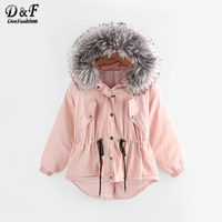 Dotfashion Faux Fur Hood Drawstring Waist Dip Hem Coat Outwear Pink Padded Top Woman Long Sleeve Single Breasted Short Coat