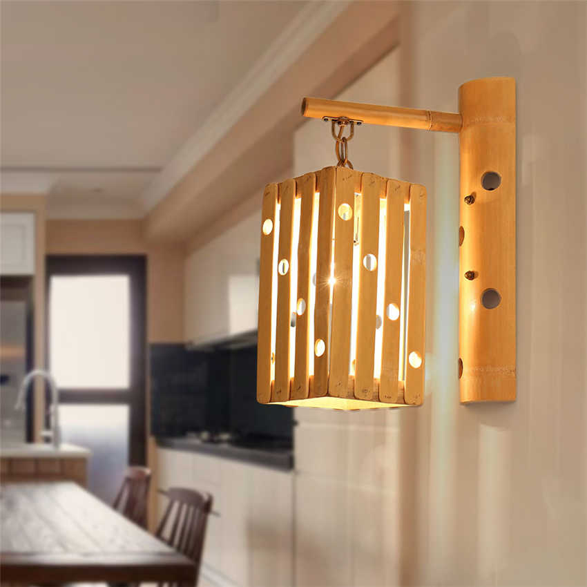 Chinese Style Wooden Loft Wall Lamps Vintage Hand Made Bedroom Living Room Study Wall Lights Corridor Decorative Sconce Lighting