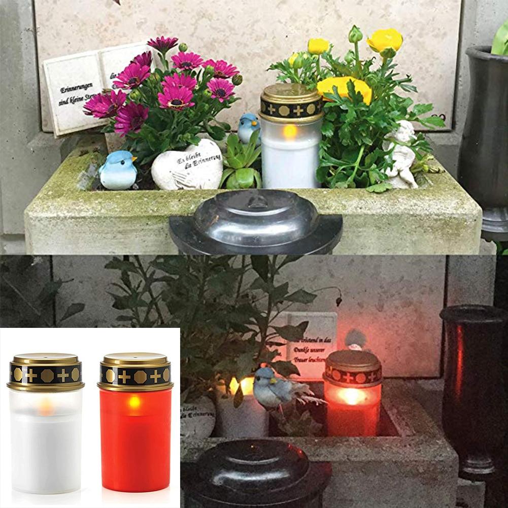 2PCS Home Cemetery Ritual Tea Light Candle Lamp Solar Powered Decoration Energy Saving Electronic Grave Led Holloween Festival
