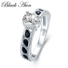 BLACK AWN 4 7g 925 Sterling Silver Jewelry Wedding Rings for Women Engagement Ring Femme