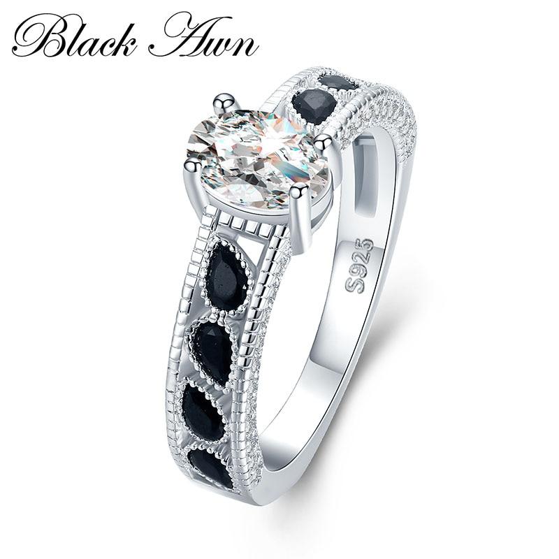 font b BLACK b font AWN 4 7g 925 Sterling Silver Jewelry Wedding font b