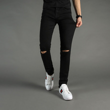 High Street Fashion Mens Jeans Black Color Denim Knee Hole Ripped Jeans Men DSEL Brand Skinny Fit Stretch Ankle Zipper Jeans dsel brand mens high stretch jeans hot sell famous brand design skinny jeans for men blue color ripped jeans mens denim trousers