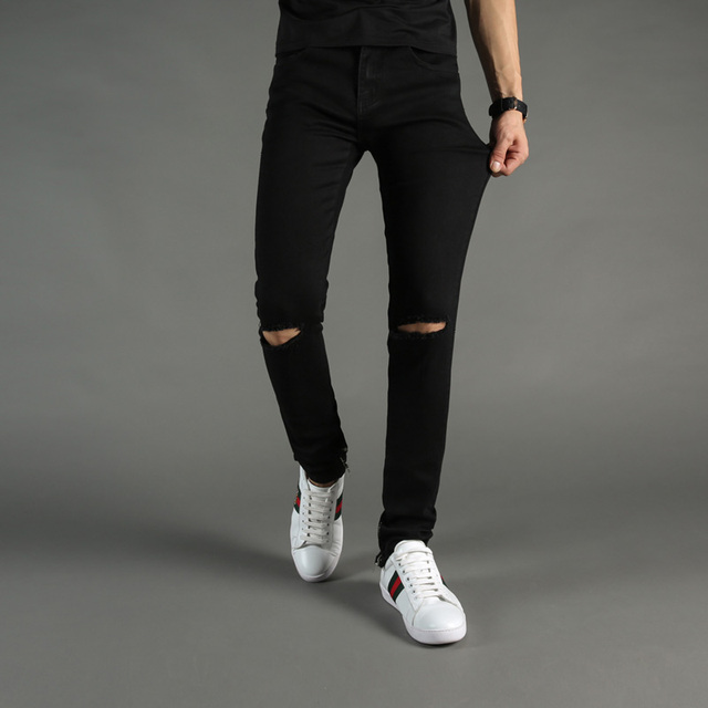 c656a3cd00a High Street Fashion Mens Jeans Black Color Denim Knee Hole Ripped Jeans Men  DSEL Brand Skinny Fit Stretch Ankle Zipper Jeans