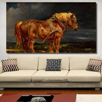 QK ART Pop Art No Framed Painting Horse Chestnut Harness Clouds Wall Pictures For Living Room