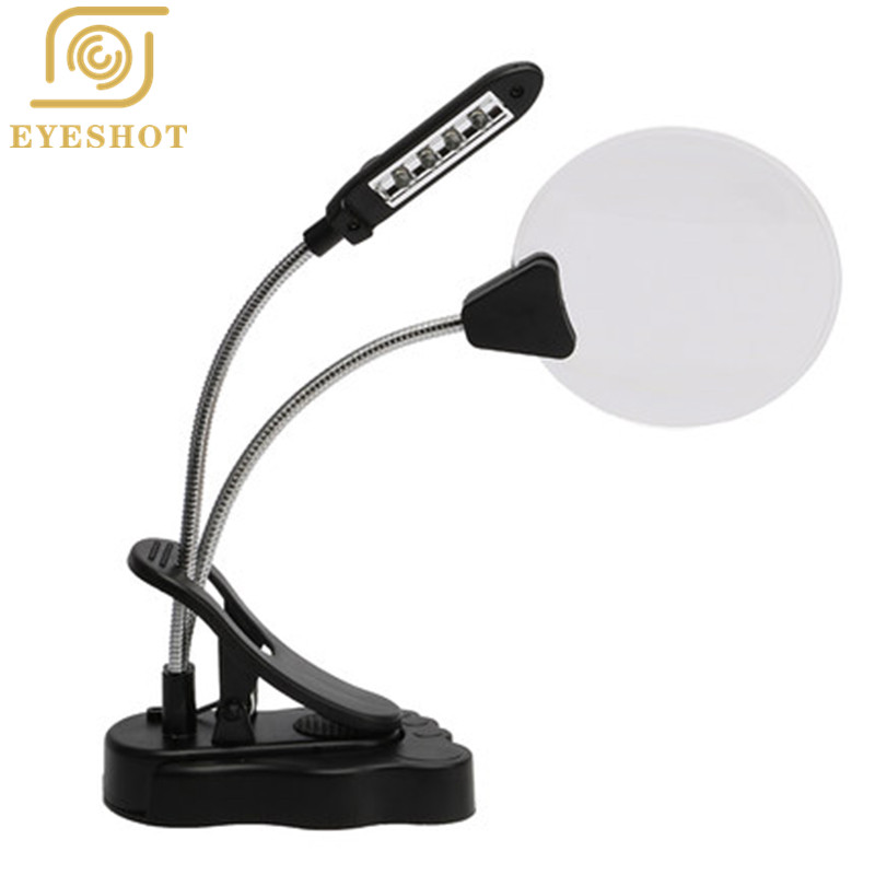 EYESHOT High Quality Double Gooseneck 4 Inch Diameter 2.5X/5X LED Clip Magnifier Lamp Flexible Tubes with 3rd Helping Hands