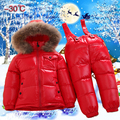 2017 Russian winter jacket duck feather down warm clothes kids 2pcs set raccoon fur collar hood ski jacket snowsuit boys parkas