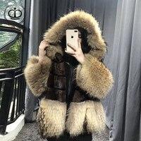 2018 Новый реального норки пальто с енота капюшоном и рукавами в стиле пэчворк из натуральной Меховая Куртка норки Для женщин зимнее пальто т