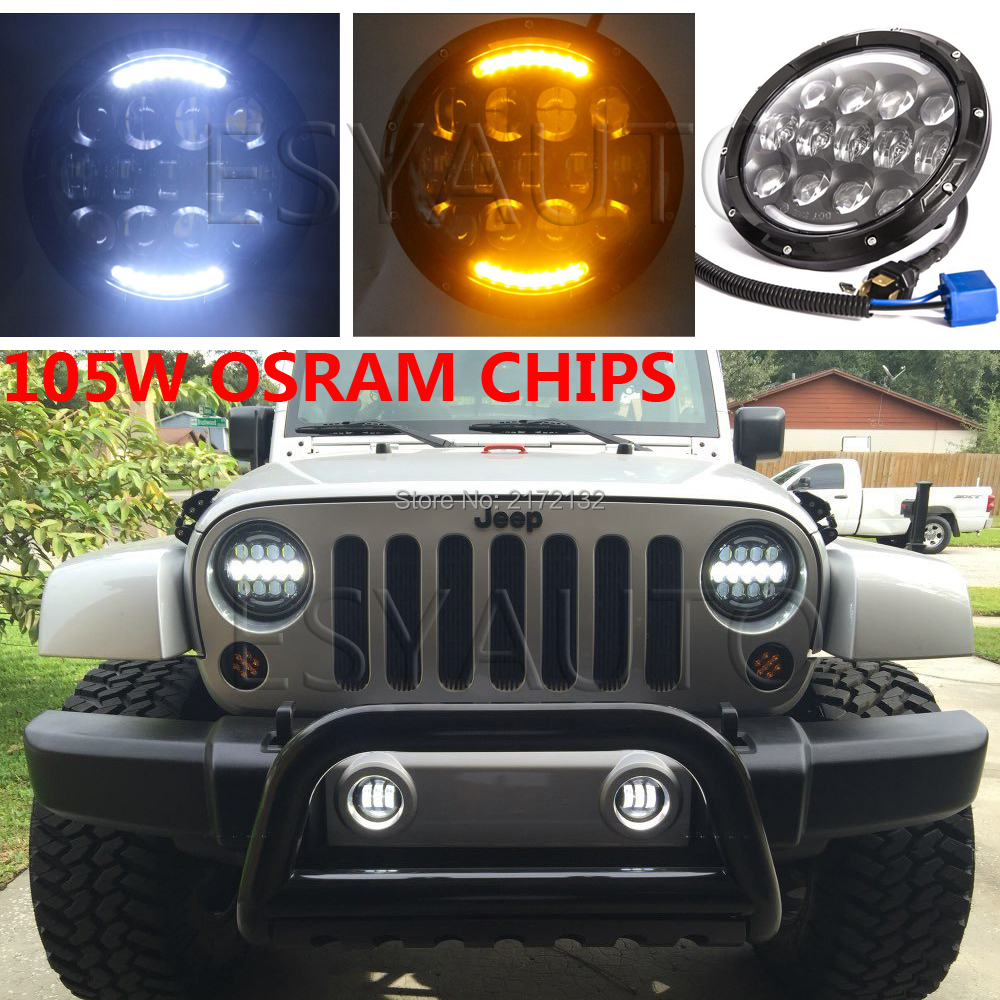 2pcs Hottest 7 inch round hi/lo led head light 105w daytime running headlight H4 H13 for jeep wrangler гарнитура hi fun hi head pink light grey