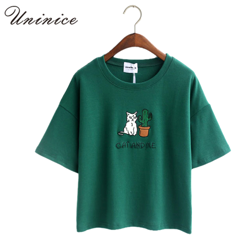 Embroidery cat cactus casual t shirt for women cotton