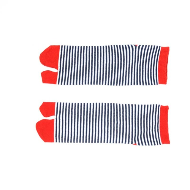 1 Pair Women's Striped Cotton Toe Socks 4