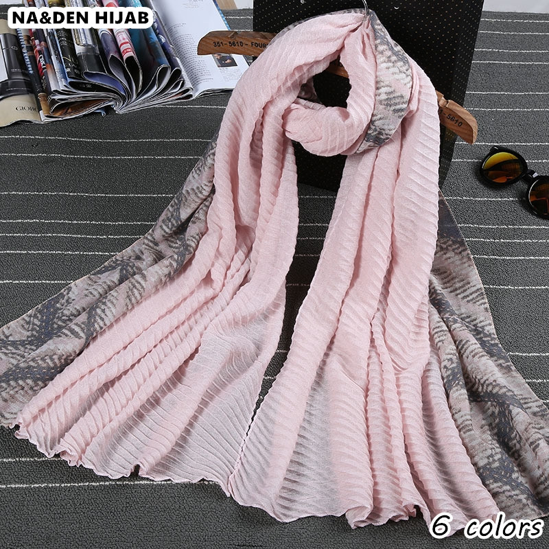 2018 wrinkle plain patchwork print scarves and shawls women elegant pleated ismatic hijab scarfs geometric fashion headband