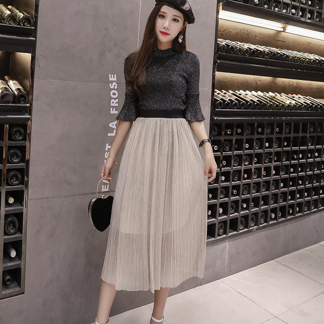 2018 Summer Mesh Thin High Waist Skirts Fashion New Korean Woman Clothing  Casual Solid Color A Line Long Skirt Free Shipping ff8c1a9d3155