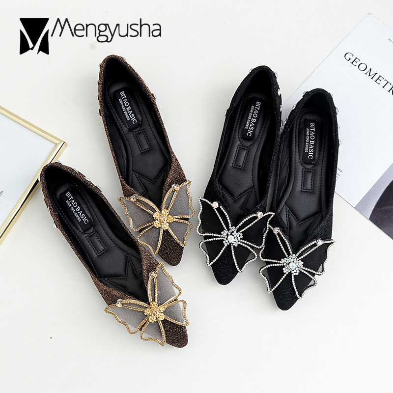 Detail Feedback Questions about gold silver crystal butterfly decoration flat  shoes woman sequined cloth ballet flats rhinestone studded mules plus size  43 ... 731013a50c49