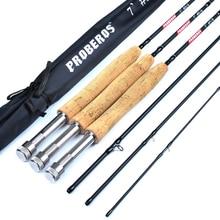 цена на DENPAL 7ft Carbon Fiber Lure Hard Fly Fishing Rod 2.1M 4-Section Fishing Pole Line Wt 3/4 5/6 7/8 Cork Handle Fishing Tackle