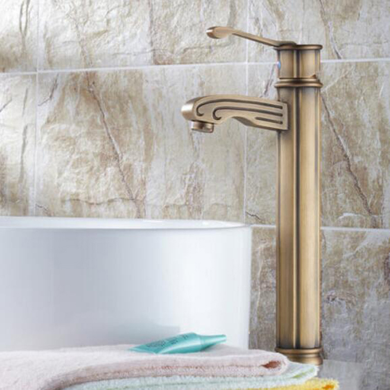 ФОТО Modern Antique Brass Bathroom Faucet Wood Style Basin Vanity Sink Mixer Tap NEW