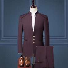 Mens suit three-piece (suit + trousers vest) mens British wind collar dress high-end custom business suits