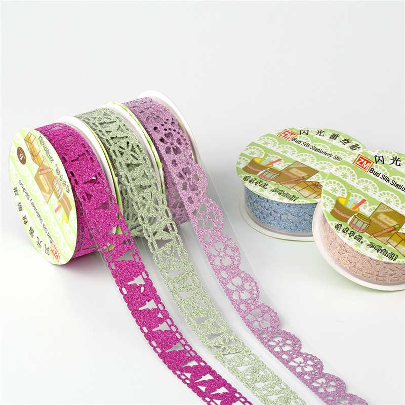 2 adet DIY renkli dantel bant Scrapbooking dekorasyon rulo bant şeker renk dekoratif Sticker kendinden yapışkanlı bant 15mm