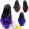 4 Colors 28inch Women 3/4 Full Head Long Curly Wavy Wig Ombre Synthetic Half Wig Heat Resistant Gradient Color Cosplay Hair Wigs