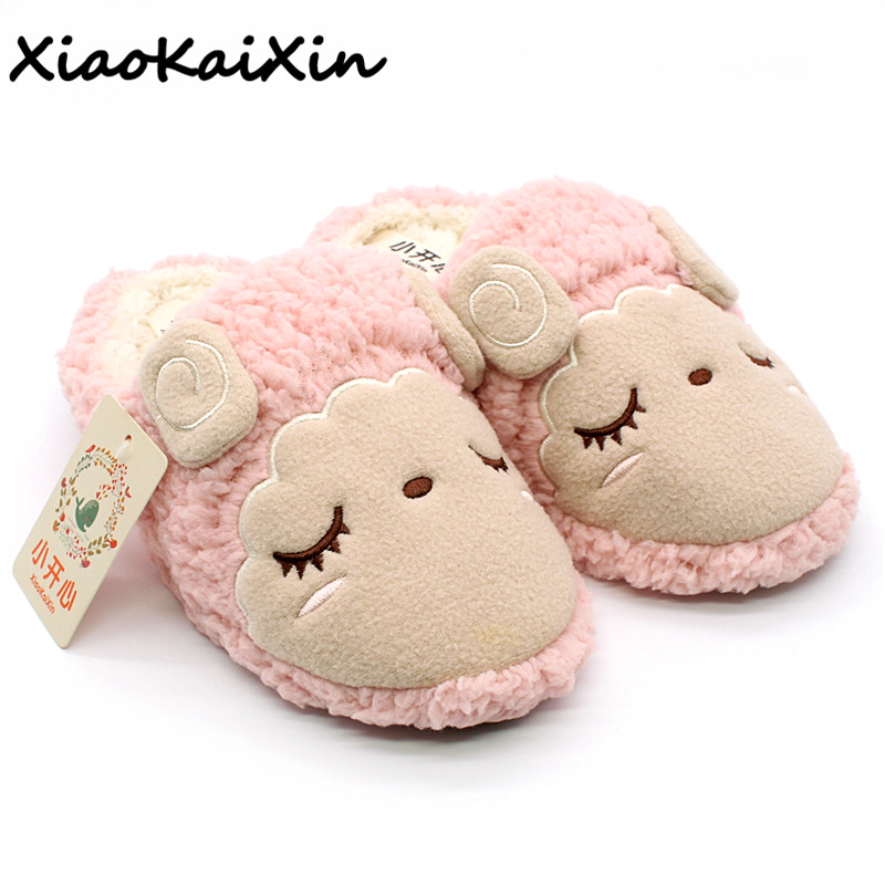 Pantunflas Winter Couples Home Animal Slippers Women Indoor Floor Sherpa Soft Bottom Squinting Sheep Slip Furry Slippers For Men millffy plush slippers squinting little sheep indoor household slippers lambs wool home couple slippers