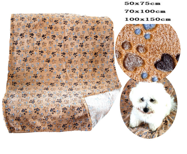 Gold Footprint Warm Thick Dog Paw Print Blanket Puppy Fleece Blanket