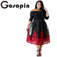 Gosopin New Spring 2017 Women Party Dress Red Lacy Embroidery Tulle Skirt Curvy Skater Dress LC61364