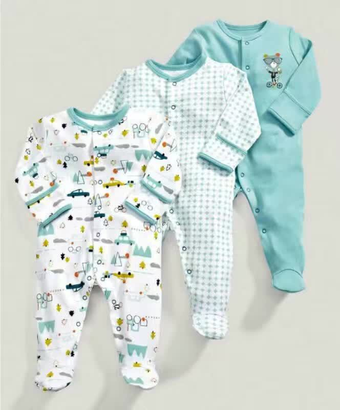 3 Pcs Baby Boys bebes Footed Jumpsuit Cotton Newborn Clothes Long Sleeve Toddler Sleepwear Pajamas Infant Clothing 0-12 Months 2017 new fashion cute rompers toddlers unisex baby clothes newborn baby overalls ropa bebes pajamas kids toddler clothes sr133