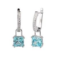 Women Real Sterling Silver 925 Earrings Huggie 8x8mm Square Sky Blue Cubic Zirconia CZ Jewelry Pendiente Mujer E087BT