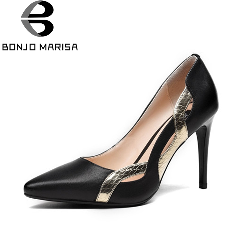BONJOMARISA Women's Patent Genuine Leather Shoes Woman Thin High Heels Pointed Toe Less Platform Stiletto Pumps Size 34-39 bonjomarisa fashion women genuine leather pumps gladiator square high heels round toe platform shoes