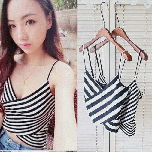 abee8ebb862c3 Striped Cami Top Women New Asymmetrical Spaghetti Strap Button Crop Top Vest  2018 Summer Sexy Vest V Neck Female Bustier Tees T