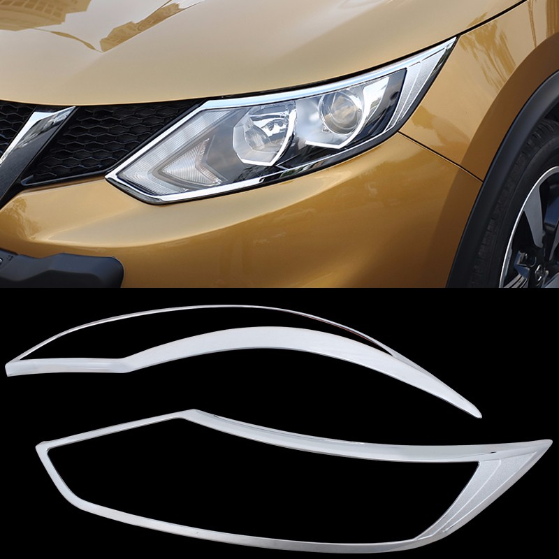 For Nissan Qashqai 2016 2017 2018 2Pcs/Set ABS Trim Protection Accessories Headlight Frame Daytime Running Light Cover|Chromium Styling|   - AliExpress